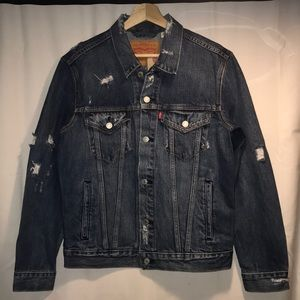 Men's Distressed Denim Trucker Jacket
